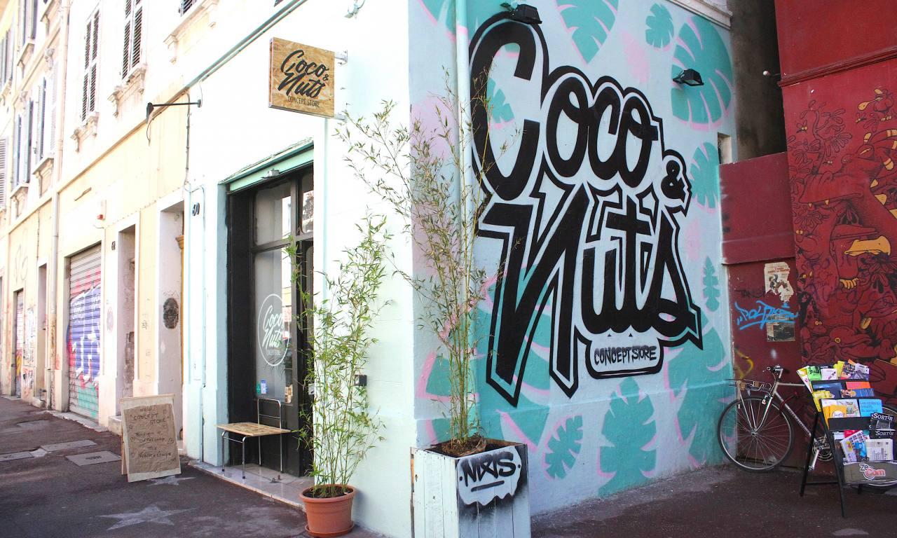 Coco et Nuts concept store vegan à Marseille graff