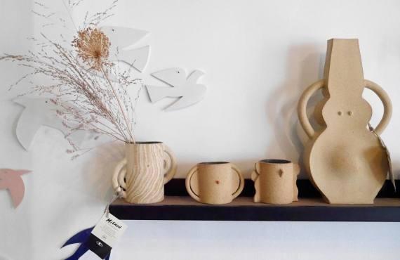 Superbe, atelier et boutique de céramique à Marseille (vase tasse oiseaux)