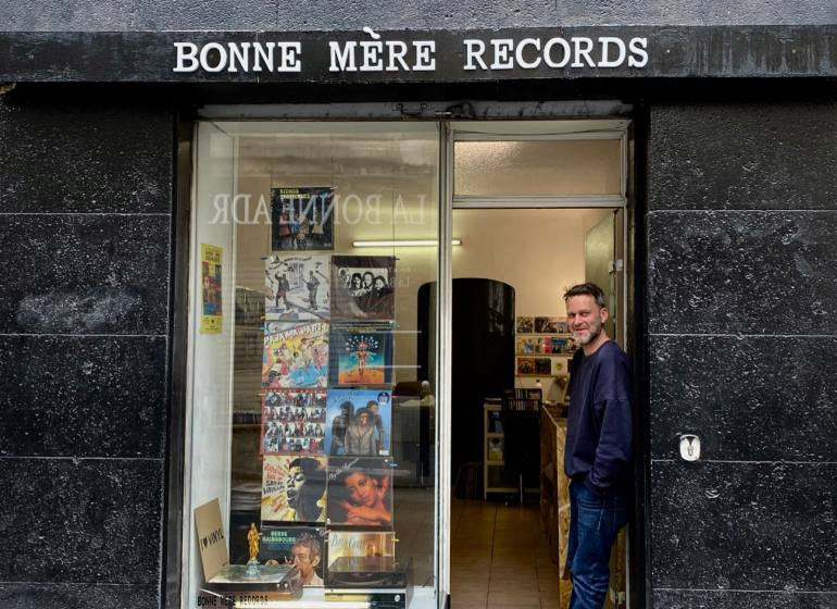 Bonne Mère Records, independent record store in Marseille (window)